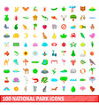 100 national park icons set cartoon style vector image vector image