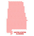 alabama state map - mosaic of love hearts vector image vector image