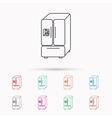 American fridge icon Refrigerator with ice sign vector image