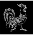 black and white rooster with a floral pattern and vector image