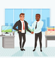 boss congratulating employee with career promotion vector image vector image