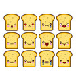 bread slice toast cartoon mascot character funny vector image vector image