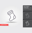 christmas sock line icon with editable stroke vector image vector image