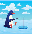 cute cartoon penguin fisher fishing with a fishing vector image vector image