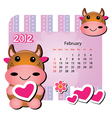 february cow calendar vector image vector image