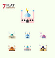 flat icon building set of architecture mosque vector image vector image