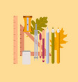 flat icon on stylish background pencils pens ruler vector image vector image