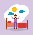 girl waking up stretching sitting on his bed sun vector image
