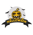Halloween Pumpkin on Ribbon vector image