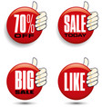 hand holding different sale tags vector image vector image