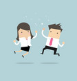 happy businessman and businesswoman jumping vector image