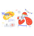 happy new year - flat design style web banner vector image