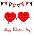happy valentines day two red heart family couple vector image vector image