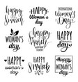 happy womans day handwritten lettering set 8 vector image vector image