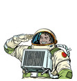 joyful astronaut salutes the cosmonaut
