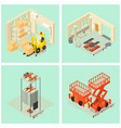 lifting machine cargo icons set isometric style vector image vector image