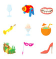 living theater icons set cartoon style vector image vector image