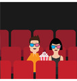Love couple sitting in movie theater eating vector image