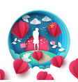 man and woman love paper cartoon vector image vector image