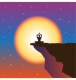 Meditation and sunset at mountain top vector image