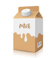 milk box packaging brown and white color template vector image