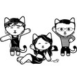 modern black and white kittens part 5 vector image
