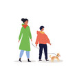 mother and child walking with dog vector image vector image