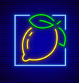 Neon sign icon with lemon