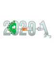 new year from 2020 to 2021 text with covid-19 vector image vector image