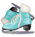 pair of turquoise ice skates isolated on white vector image vector image