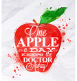 Poster watercolor apple red vector image vector image