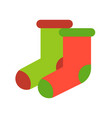 red and green sock merry christmas icon set flat vector image