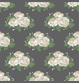 retro floral seamless pattern white roses on dark vector image vector image