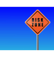 roadsign risk zone sky background vector vector image vector image