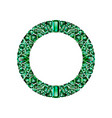 round frame made of realistic green emeralds with vector image