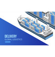 sailing ship for global logistics vector image vector image