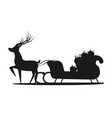 santa claus sledge silhouette vector image vector image