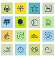 set of 16 eco icons includes home guard tree vector image vector image