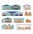 Set of Warehouses for Goods Storing and Delivering vector image vector image