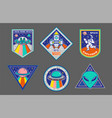 set patches or sticker on space topic vector image vector image