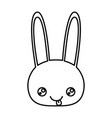 sketch silhouette of kawaii caricature face rabbit vector image