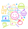 Symbols of ordering food via the Internet on vector image vector image