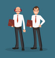 two successful businessmen in white shirts vector image