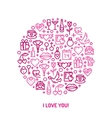 Valentines Day and wedding icons vector image vector image
