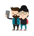 young hipster man and woman couple vector image vector image