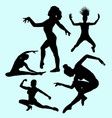 dancing and sport woman action silhouette vector image
