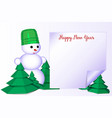 2 happy new year greeting card with snowman on vector image vector image