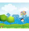 A boy floating in the air with the balloons vector image vector image