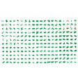 a large set green flags on vector image
