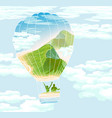 balloon with travelers and summer landscape vector image vector image